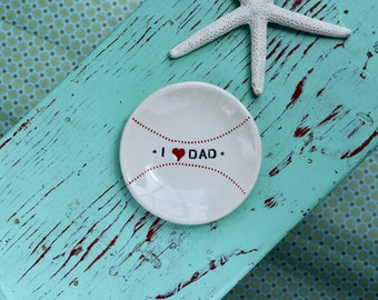 Baseball Dish, Trinket Dish with I love Dad, Coin Dish with Baseball Design, Collar Stay Dish with Baseball Design