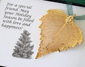 Leaf Ornament Gold, Real Leaf Birch, Leaf Extra Large, Ornament Gift, Christmas Card, Gold Leaf, Tree Ornament, Wedding, ORNA102