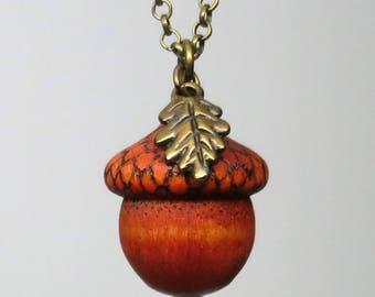 Autumn Acorn Pendant Necklace, Wooden Acorn, Pyrography