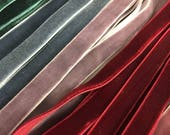 "Velvet ribbon 6mm, 1/4"" width / Wholesale ribbon / ribbon by the yard, over 80 colours / also available in 9mm 3/8"" width"