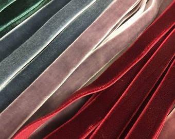 "Velvet ribbon 1cm, 3/8"" width / Wholesale ribbon / ribbon by the yard, over 80 colours / also available in 3mm 1/8"" and 6mm 1/4"""