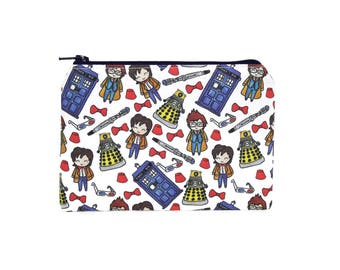 Dr Who Doodles Zipper Pouch / Tardis and Daleks Make Up Bag on White / Pencil Pouch
