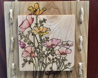 Woodburned Floral Arrangement -  Art Panel-Pyrography
