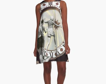 A-Line Printed Swing Shift Sleeveless Women's Dress - Surreal Collage Wearable Art - Time Jump Limbo Series