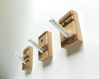 Wall Hooks, Wood, Metal, Modern Home, Bath, Home Organization, Housewarming, Recycled Wood