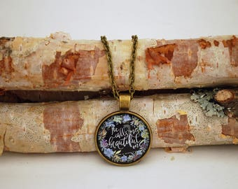 He calls me beautiful one, Bronze Small Pendant Necklace