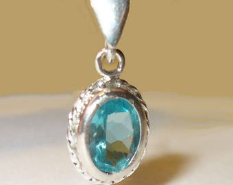 Natural Blue Apatite in Sterling Bezel Style Pendant - Genuine Gemstone in Solid Sterling Silver - PLEASE Read Important Details