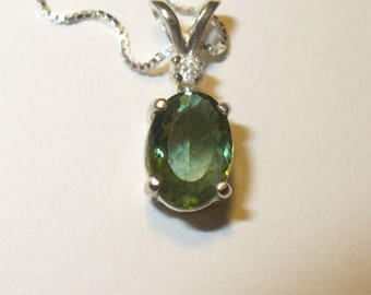 Green Apatite White Zircon Accent Pendant Necklace in Sterling Silver - Genuine, Natural Gemstones