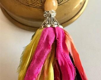 Sari Silk Tassel Necklace-Black, Pink, Yellow Tassel-Boho Tassel Jewelry