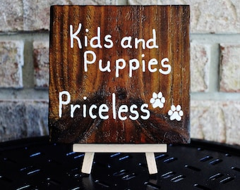 Rustic Wood Sign, Kids and Puppies Priceless, Cabin, Home Decor, Charred Wood, Torched Wood, Reclaimed Fence Wood by Hendywood