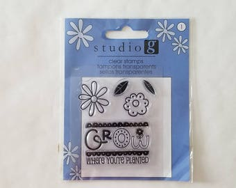 Grow Where You're Planted Flower & Leaves Clear Stamps - Studio g