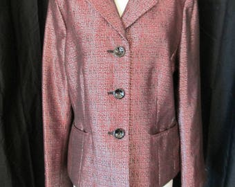 1990's LeSuit woven red black white metallic thread dress jacket coat size 12
