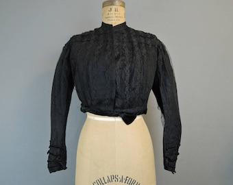 Victorian Black Silk & Lace Bodice, 34 bust, Vintage 1800s Blouse