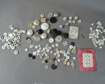 Lot of White Glass Vintage Buttons, Studs with Pins and small 3/8 inch buttons