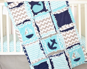 Nautical Bedding- Navy/ Turquoise/ Grey Crib Bedding- Whale Crib Bedding Set- Crib Size Rag Quilt/ Sheet/ Skirt/ Bumper- Anchor Crib Bedding
