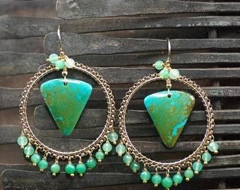 Summer SALE Turquoise earrings, Chrysoprase gemstone chandelier earrings,14k Gold Filled Ear hooks, December Birthstone ... JULI Earrings