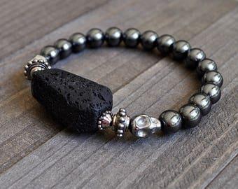 Black Lava Rock Hematite Skull Bracelet Rockstar Jewelry Unisex Perfect For A Man or Woman