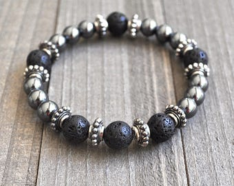 Magnetic Hematite & Lava Rock Beaded Bracelet Unisex Perfect For A Man or Woman Rockstar Hollywood Glam Style