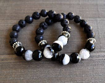 Black & White Agate Gemstone Lava Rock Microfaceted Beaded Bracelet Unisex Perfect For A Man or Woman Stackable Artisan Jewelry