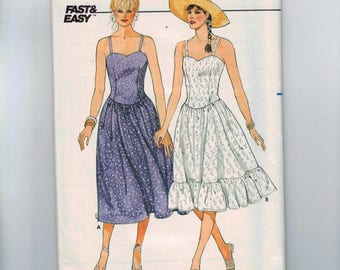 1980s Vintage Sewing Pattern Butterick 6530 Misses Summer Sundress Dress Sweetheart Neck Ruffle Country Size 12 14 16 Bust 34 36 38 UNCUT