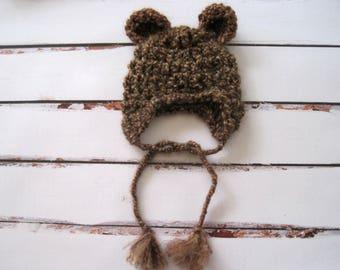 Crochet Bear Hat, Brown Baby Bear Hat, Newborn Baby Hat, Newborn Bear Hat, Baby Bear Hat with Ear Flaps, Newborn Photo Prop