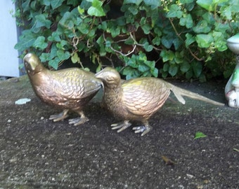 Pair Vintage Brass Pheasants Figurines Brass Bird Statues Wild Game Figurines Desk Accessory Office Decor Cabin Rustic Wedding Decor