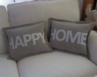 Happy Home Linen Pillow Set Linen Lumbar Pillows Neutral Home Pillows Neutral Home Decor Sold as a Set of 2