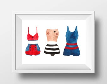 Retro swimsuits collection. Art print