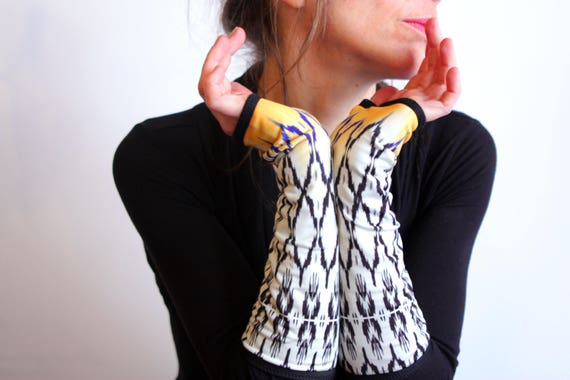 Long mittens, black white yellow graphic ethnic patterns lined Lycra cotton jersey