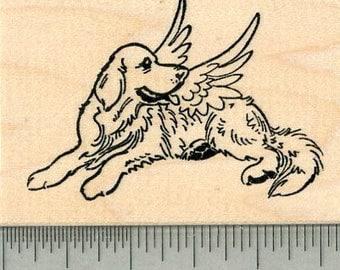 Dog Angel Rubber Stamp, Labrador Retriever, Pet Loss J32622 Wood Mounted