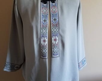 Grey Embroidered Open Peasant Blouse