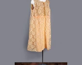 1960's Gold Lace BabyDoll Shift Dress- LARGE