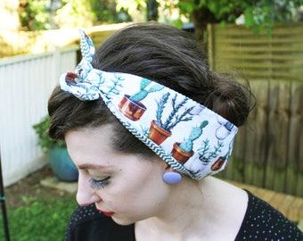 Plants Succulent CACTUS Head scarf/ Dolly bow/ Bandana. 50s inspired, Rockabilly/Retro/ Vintage.