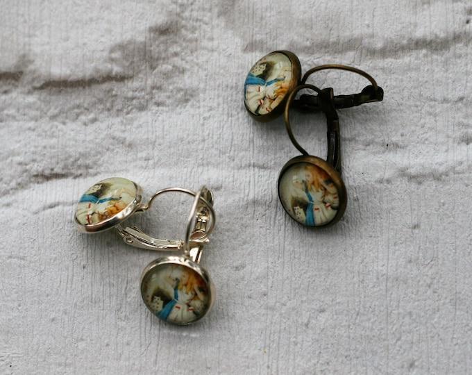 Alice Earrings, Alice in Wonderland Illustration, Dangle Earrings, Alice In Wonderland