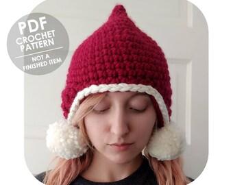 crochet pattern - pointy elf hat - pixie faerie hat - earflap hat with pompoms - easy crochet winter hat - wool hat - wool pompom hat