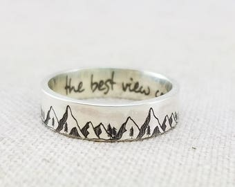 Inspiration Ring -  Outdoor Gift - Mountain Ring - Band - Inspirational Jewelry  - Jewelry - Silver Ring - Wedding Band