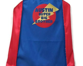 Big Brother - Superhero Cape -  Super Big Brother Cape - Big Brother Gift - Personalized Cape - Big Brother Little Brother - New Brother