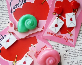 Valentines Collection! Snail Mail Love Letters brooch and optional matching earrings - novelty 1940's style by Luxulite