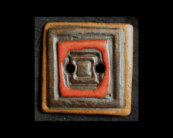Handmade Ceramic Button: Smooth Black Basaltic Stoneware