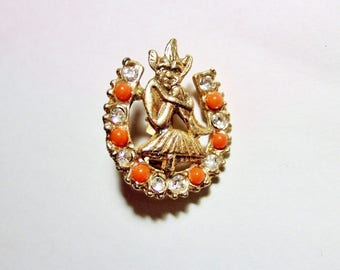 Lucky Pixie on a Toadstool Brooch - Vintage Kitsch Horseshoe Brooch with Orange and Rhinestones in Goldtone Metal