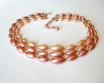 1960s Pink Pearls Necklace - Vintage Three Strand Bead Necklace with Faux Pearls in Ombre Shades of Pink