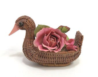 Small Woven Duck or Goose Basket for your Boho Jungle Plants
