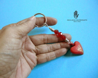 Heart With Beads Key Chain