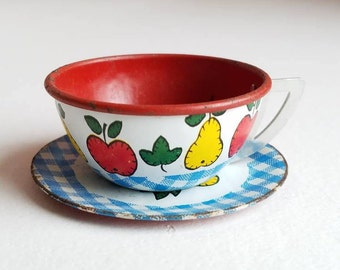 Vintage Ohio Art Metal Cup and Saucer Toy Kitchen