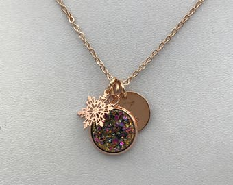 rose gold necklace, rose gold druzy necklace, rose gold snowflake necklace, rose gold jewelry, boho jewelry, boho necklace, bridesmaid gift