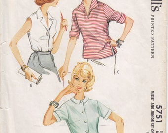 Vintage Pattern McCall's 5751 Set of Shirts 60s Size 14 B34