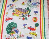 French Tea Towel, 1960s Dish Cloth, Wall Art, Vintage Kitchen Linen, Vintage Scooter, Vintage Kitchenalia, Linen Wall Hanging, 1960s