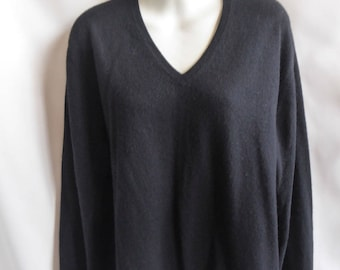 100% Cashmere Sweater Size M Black Boyfriend V Neck McDuff 44 Chest Jumper