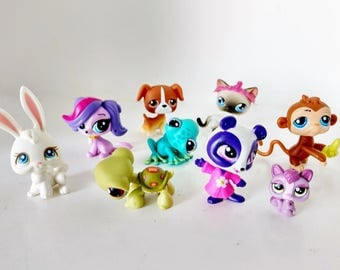 Nine Littlest Pet Shop LPS figurines with bobblin' heads Frog, Puppy, Kitty Cat, Panda, Monkey Game Pcs party supply favors cake toppers