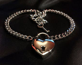 Silver Heart Padlock Necklace // Lock and Key Necklace // Heart Lock // BDSM // Lock Necklace // Key to my Heart // 50 Shades of Gray